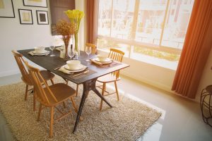 Modern,Dining,Room,Interior,With,Warm,Light,From,The,Sun.